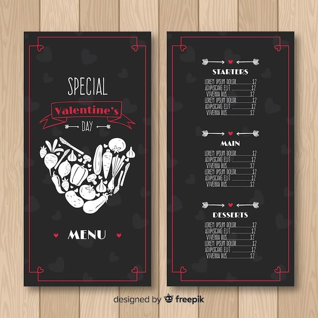 Coração feito de modelo de menu de vegetais dos namorados Vetor grátis