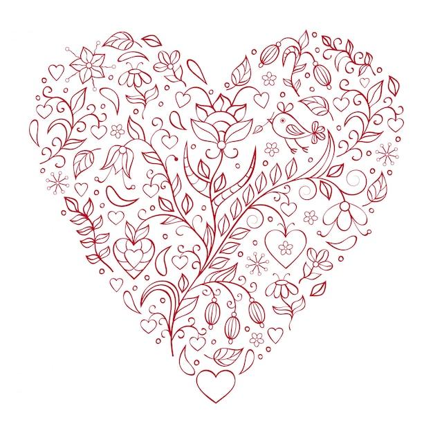 Coração floral valentines Vetor Premium