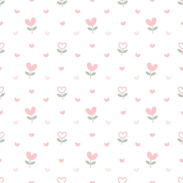 Coração flores sem costura de fundo Vetor Premium