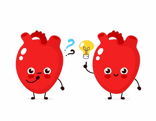 Coração fofo com ponto de interrogação e personagem de lâmpada. ícone de ilustração de personagem de desenho animado plana. isolado no branco coração tem idéia Vetor Premium