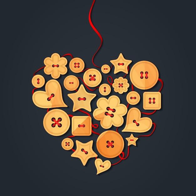 Coração forrado com botões de madeira, costurados com fita vermelha. cartão criativo feliz dia dos namorados Vetor Premium