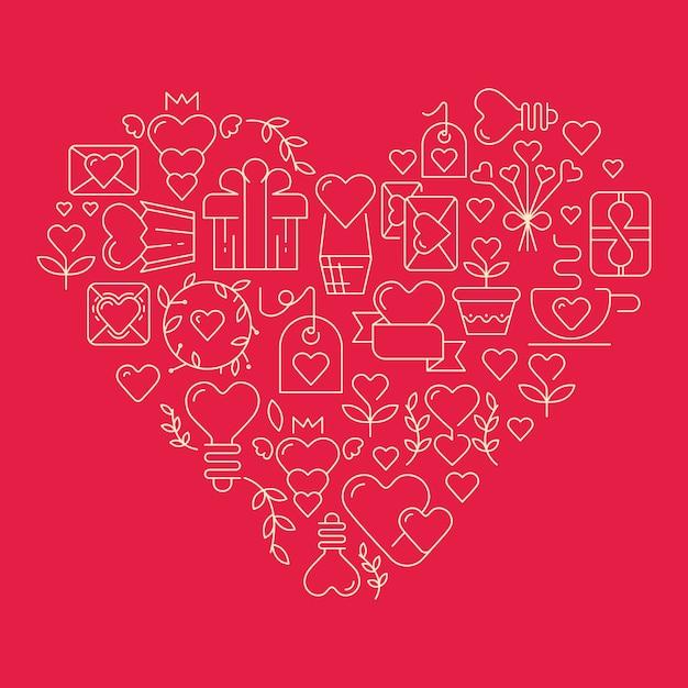 Coração gigante com muitos elementos que simbolizam a ilustração vetorial do dia dos namorados Vetor grátis