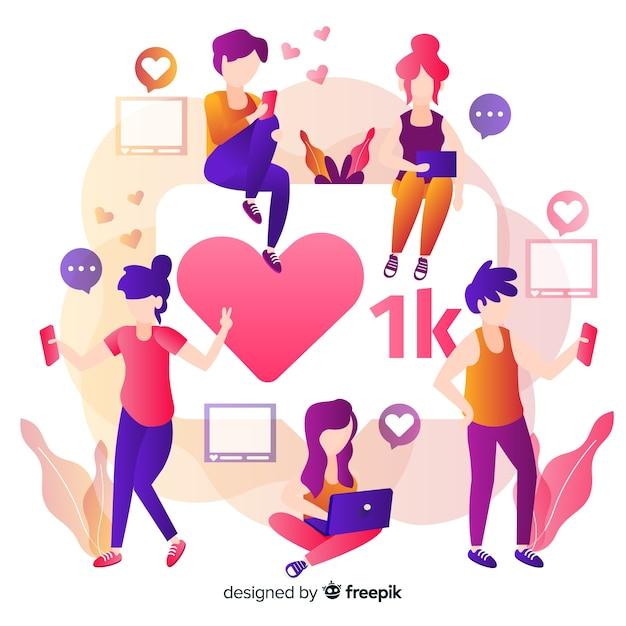 Coração instagram. adolescentes em mídias sociais. design de personagem. Vetor grátis