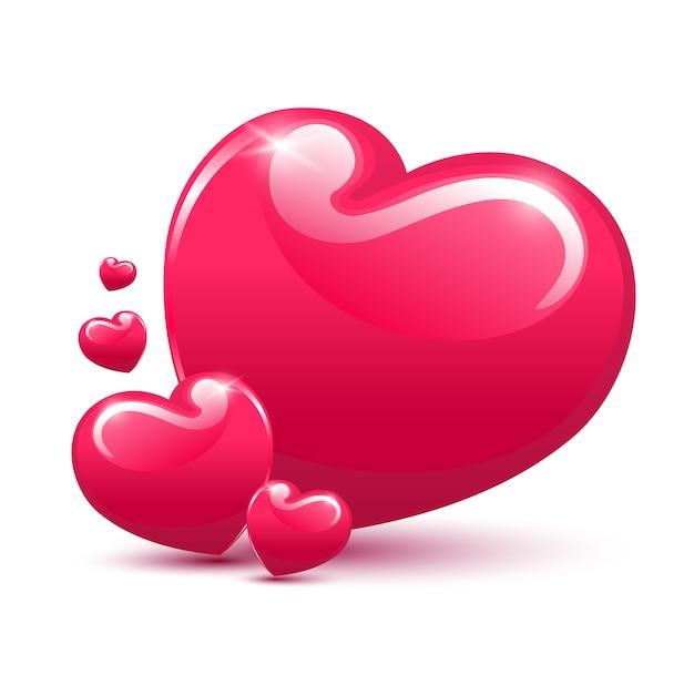 Coração isolado no fundo branco Vetor Premium