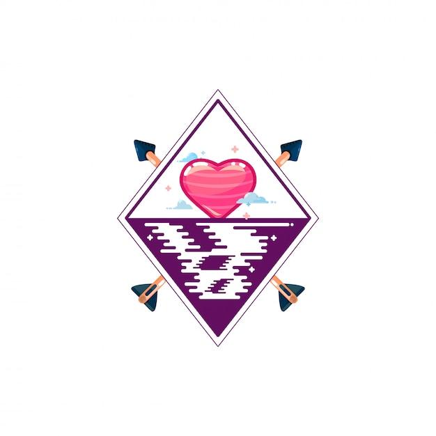 Coração nascer ou pôr do sol no rio Vetor Premium