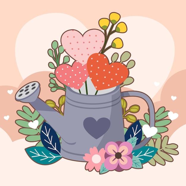 Coração no watercan e flor e folha em rosa Vetor Premium