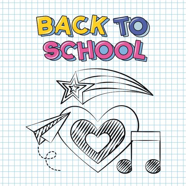 Coração, nota musical e avião de papel, volta às aulas doodle desenhado em uma folha de grade Vetor grátis