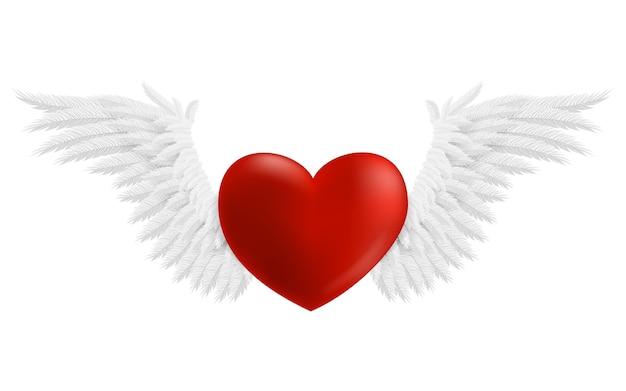 Coração pairando com asas, ilustração isolada no fundo branco Vetor Premium