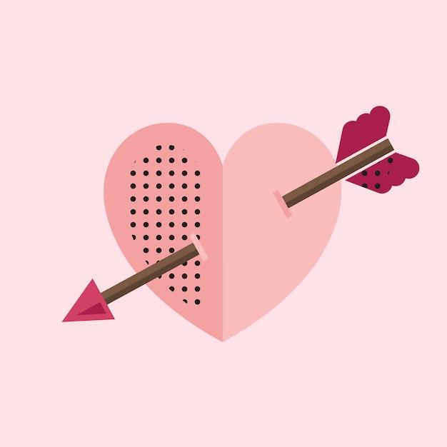 Coração rosa com um ícone de seta do cupido Vetor grátis
