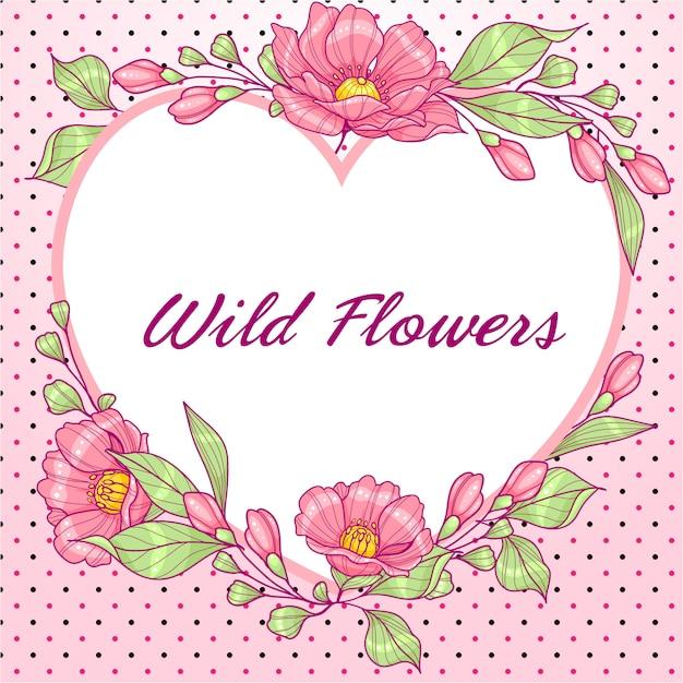 Coração rosa em forma de cartão com flores e bolinhas Vetor Premium