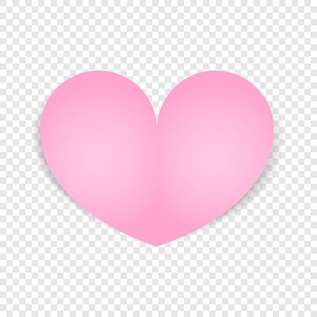 Coração rosa isolado. projeto do dia dos namorados. Vetor Premium