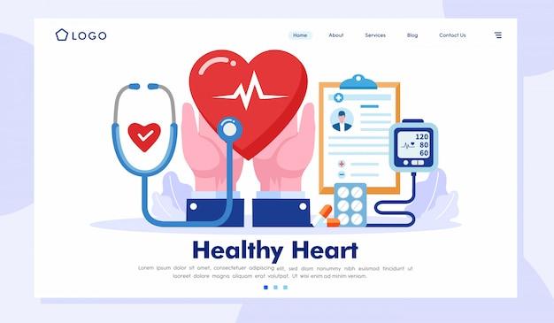 Coração saudável página inicial modelo site ilustração vetorial Vetor Premium