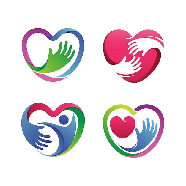 Coração saudável set logo vector Vetor Premium