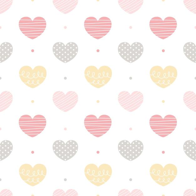 Coração sem costura de fundo Vetor Premium