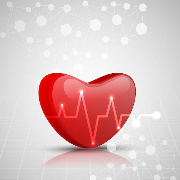 Coração vermelho 3d com eletrocardiograma, conceito médico. Vetor Premium