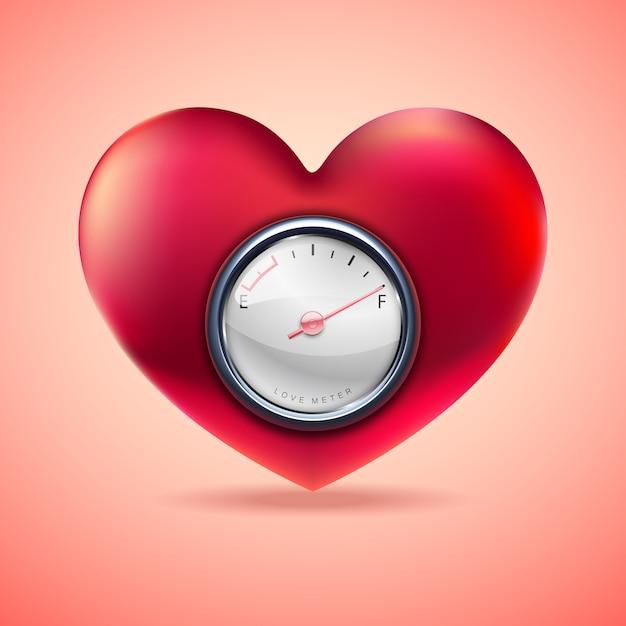 Coração vermelho com medidor de combustível, indicador de coração de amor Vetor Premium