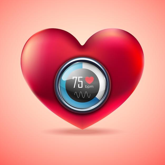 Coração vermelho com monitor de função eletrocardiograma Vetor Premium
