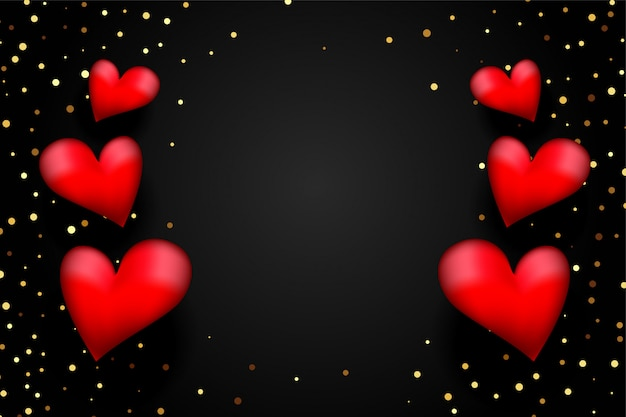 Corações 3d vermelhas com confete dourado em fundo preto Vetor grátis