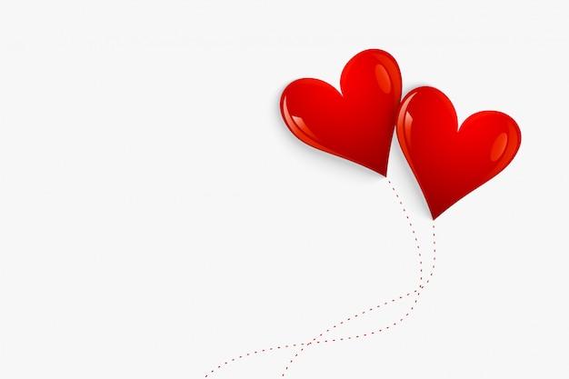 Corações de balão vermelho isolados no fundo branco Vetor grátis