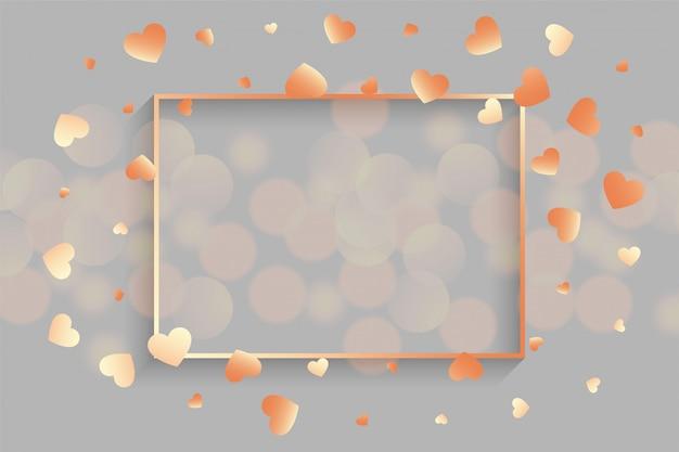 Corações de ouro rosa brilhante com moldura de texto Vetor grátis
