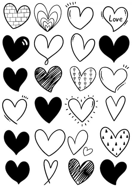 Corações de rabisco mão desenhada Vetor Premium