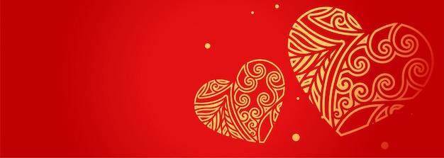 Corações decorativas no banner vermelho com espaço de texto Vetor grátis