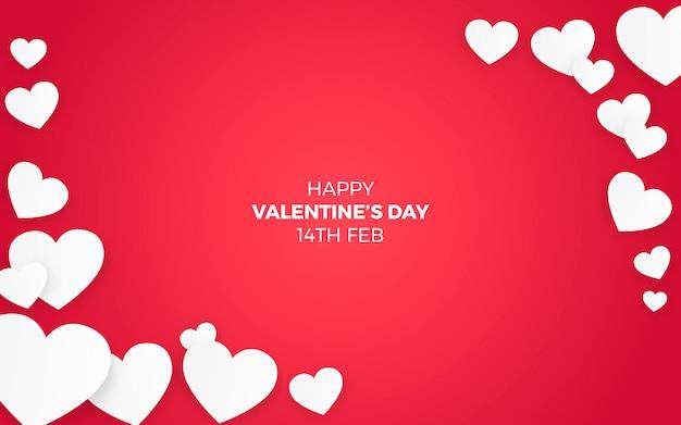 Corações do dia dos namorados em fundo vermelho Vetor grátis