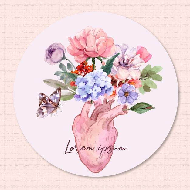 Corações e flores. Vetor Premium