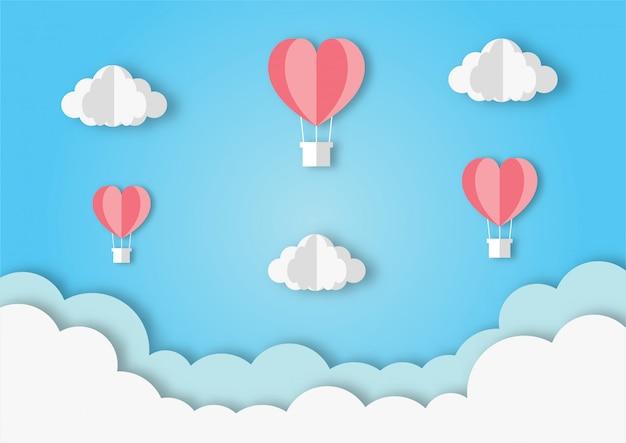 Corações em forma de balões voando fundo de estilo de arte de papel. Vetor Premium