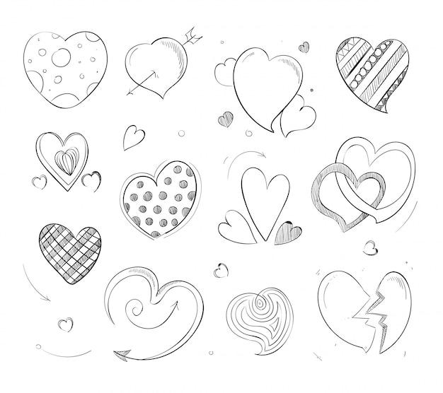 Corações fofos doodle Vetor Premium