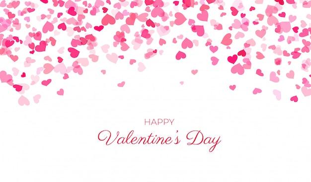 Corações rosa confetes em branco Vetor Premium