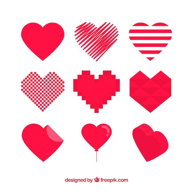 Corações vermelhos ajustaram-se de diferentes formas Vetor grátis