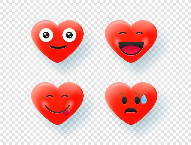 Corações vermelhos isolados em fundo transparente Vetor Premium