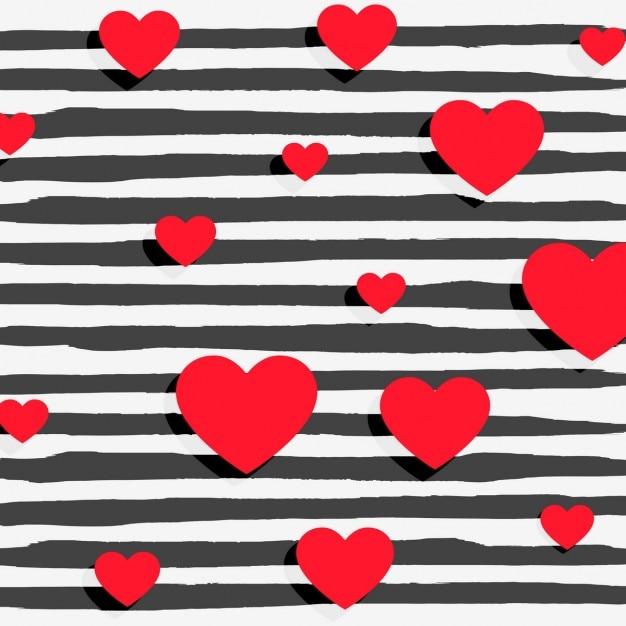 Corações vermelhos no fundo das listras preto Vetor grátis