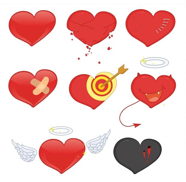 Corações Vetor Premium