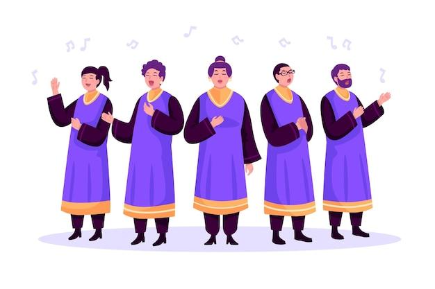 Coral gospel cantando Vetor grátis