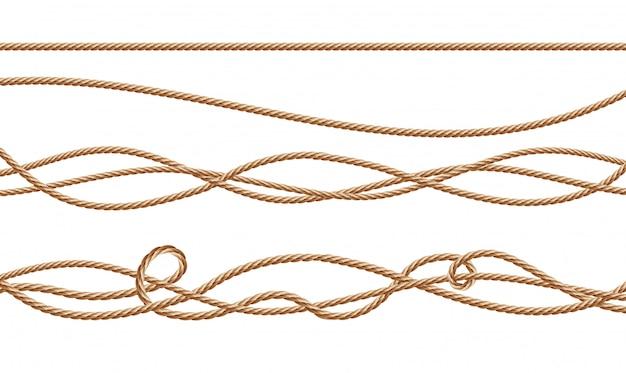 Cordas de fibra realista 3d - em linha reta e amarrado. juta ou cânhamo torcido cabos com loops Vetor grátis