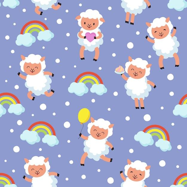 Cordeiro branco, bebê de ovelhas pequenas. padrão sem emenda de vetor de sonho doce Vetor Premium