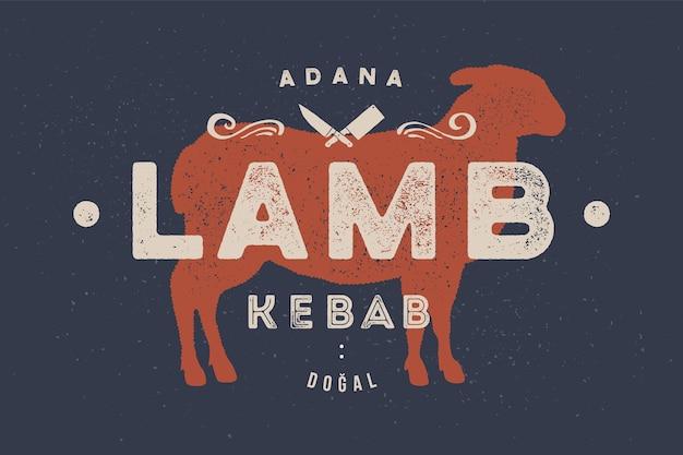 Cordeiro, ilustração de kebab Vetor Premium
