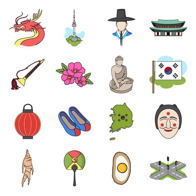 Coreia do sul dos desenhos animados definir ícone Vetor Premium