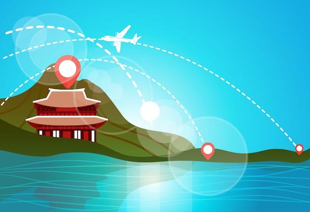 Coréia do sul viagem marco paisagem belo templo nas montanhas no lago ou rio ver os asiáticos conceito de destinos de viagem Vetor Premium