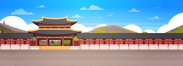 Coréia palácio paisagem sul-coreano templo sobre montanhas famoso asiático marco vista horizontal Vetor Premium