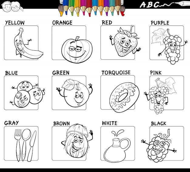 Cores Básicas Com Frutas E Alimentos Para Colorir