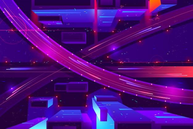 Cores de néon da autoestrada da noite da metrópole, desenhos animados da vista superior. Vetor grátis