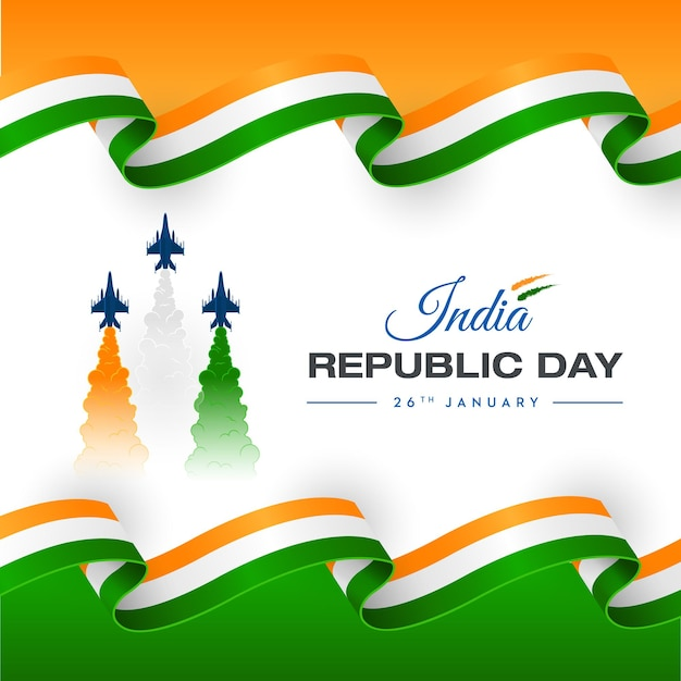 Cores do trio do dia da república do conceito da força aérea da índia Vetor Premium