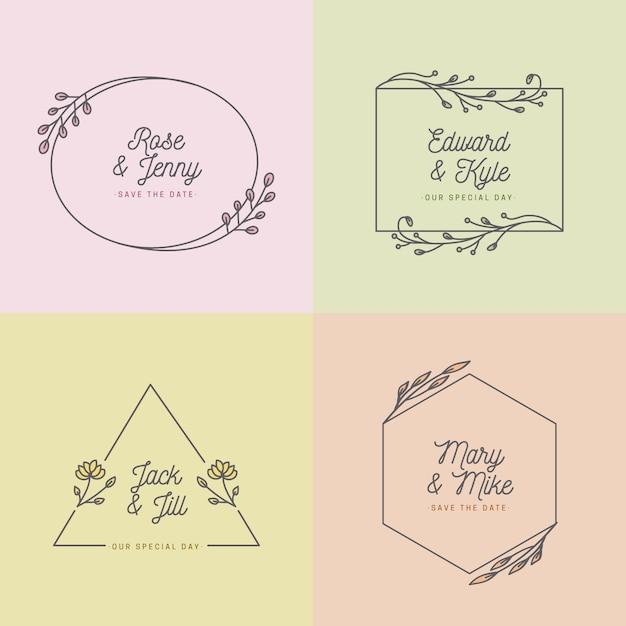 Cores pastel para o conceito de monogramas de casamento Vetor grátis