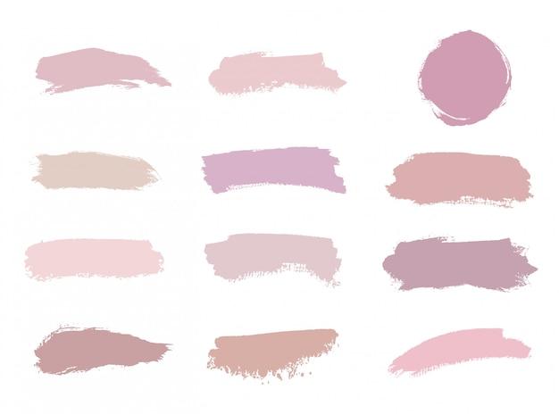 Cores rosa, nude, rosa, pêssego escovam textura aquarela de acidente vascular cerebral. Vetor Premium