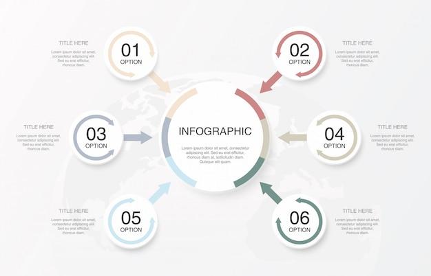 Cores suaves círculos de infográficos e 6 números. Vetor Premium