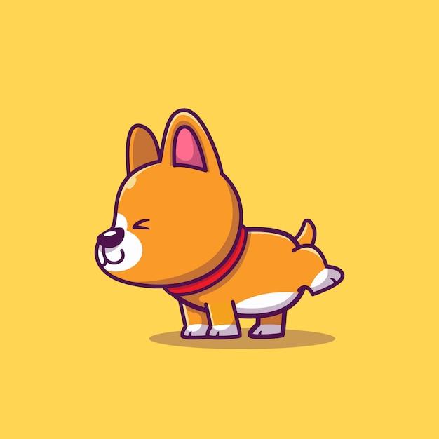 Ilustração de cão Corgi fazendo xixi em fundo amarelo como adestrar um cachorro