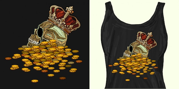 Coroa de bordado, rei caveira e moedas Vetor Premium